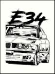 """AUTOSTICKERZ ASZ0032 Наклейка на авто """"БМВ Е34"""" 10х13 см"""