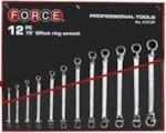 Force 51213P Набор ключей накидных, отогнутых на 75грд. 12пр. (6х7, 8х9. 10х11, 12х13, 14х15, 16х17, 18х19, 20х22, 21х23, 24х27, 25х28, 30х32мм) на полотне