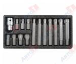 "YATO YT-0419 1/2"" Набор бит, RIBE, 15 пр (L=30 мм, L=75 мм): M6, M7, M8, M9, M10, M12, M14, в метал. бокс"